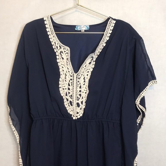 J Gee Dresses & Skirts - J Gee Maxi  Kaftan/ Mumu Navy & Cream  Large
